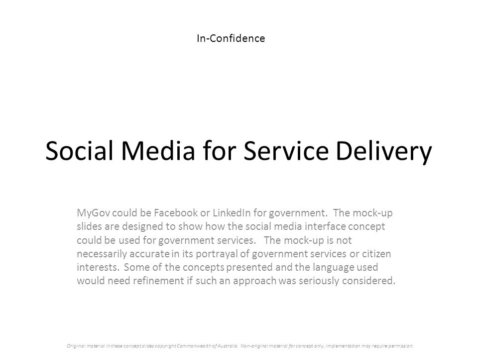 Social Media for Service Delivery