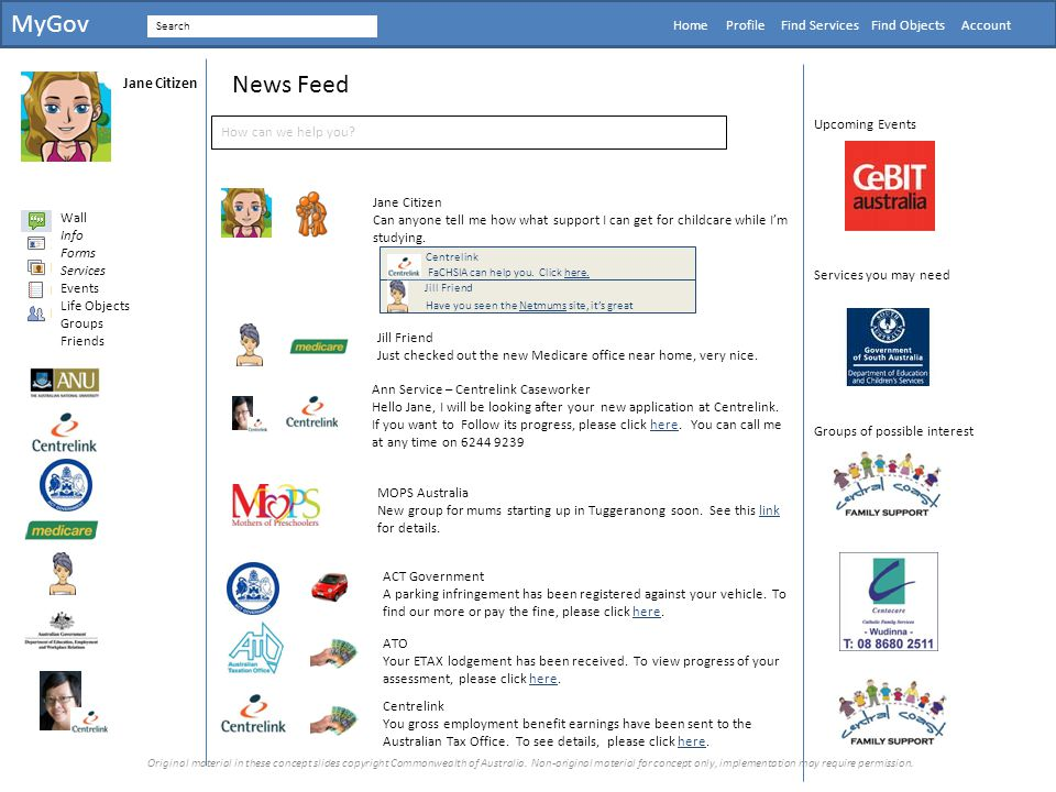 MyGov News Feed Home Profile Find Services Find Objects Account