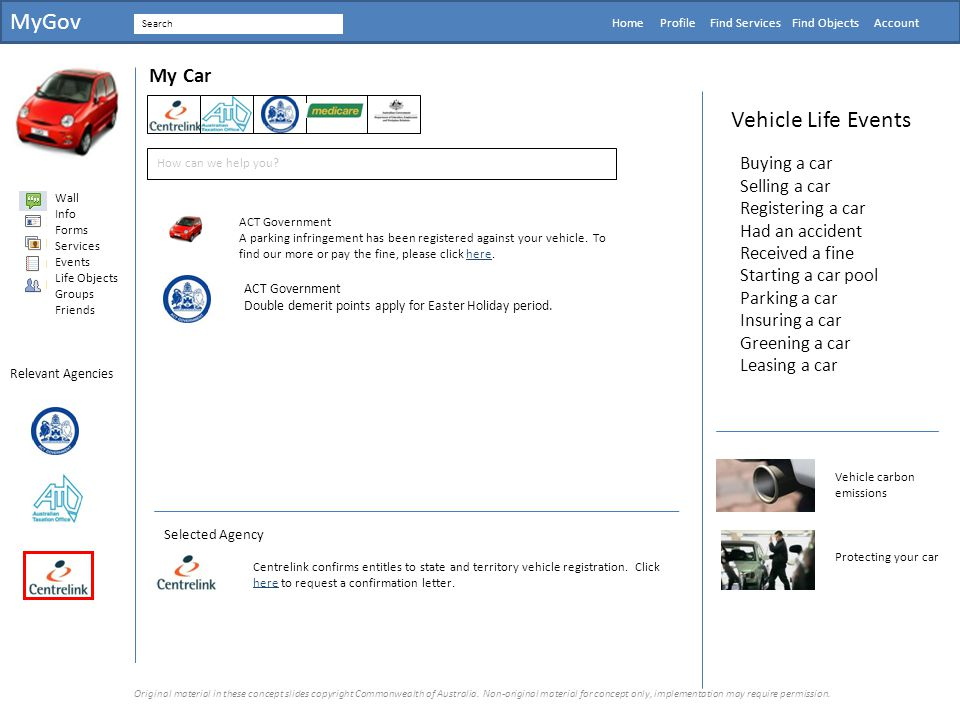 MyGov Vehicle Life Events My Car Buying a car Selling a car