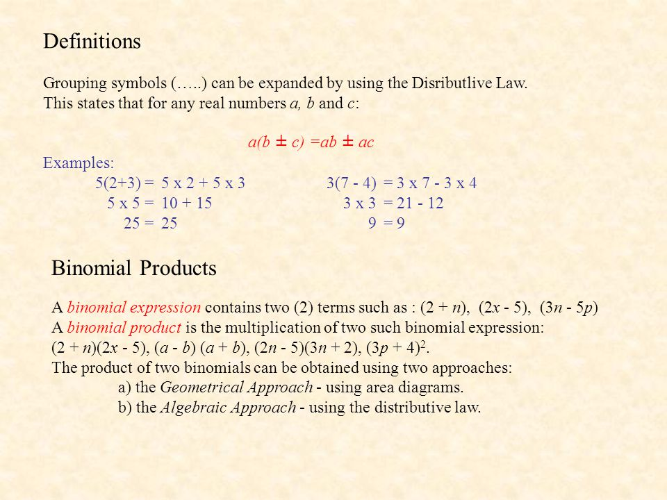 Definitions Binomial Products