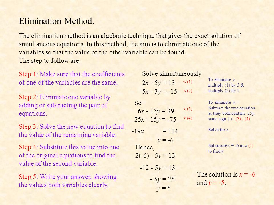 Elimination Method.