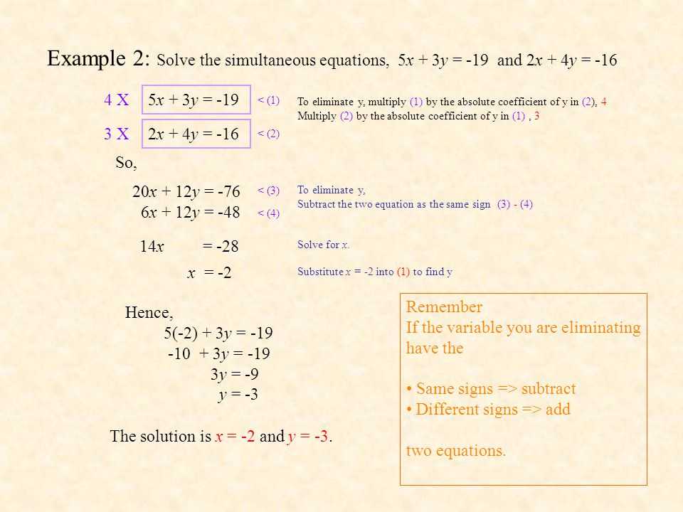 Example 2: Solve the simultaneous equations, 5x + 3y = -19 and 2x + 4y = -16