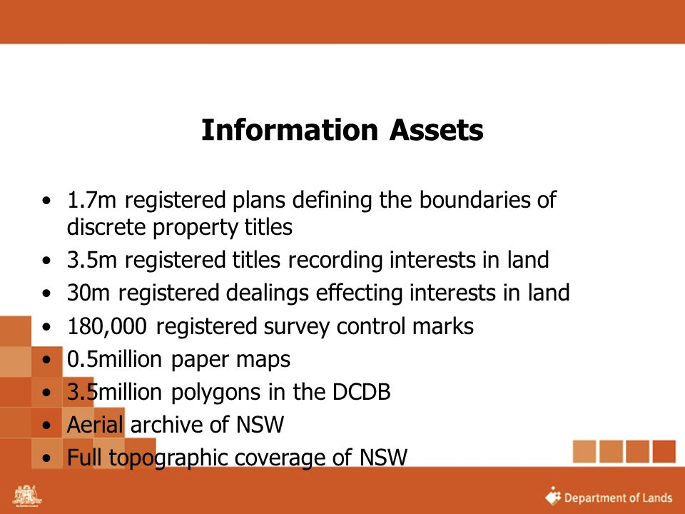 Information Assets 1.7m registered plans defining the boundaries of discrete property titles. 3.5m registered titles recording interests in land.