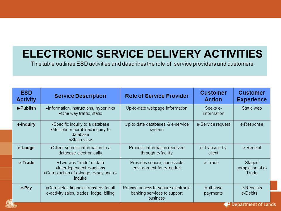 ELECTRONIC SERVICE DELIVERY ACTIVITIES Role of Service Provider