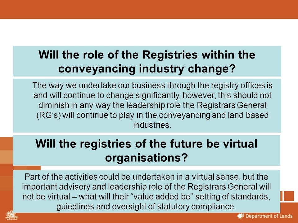 Will the registries of the future be virtual organisations