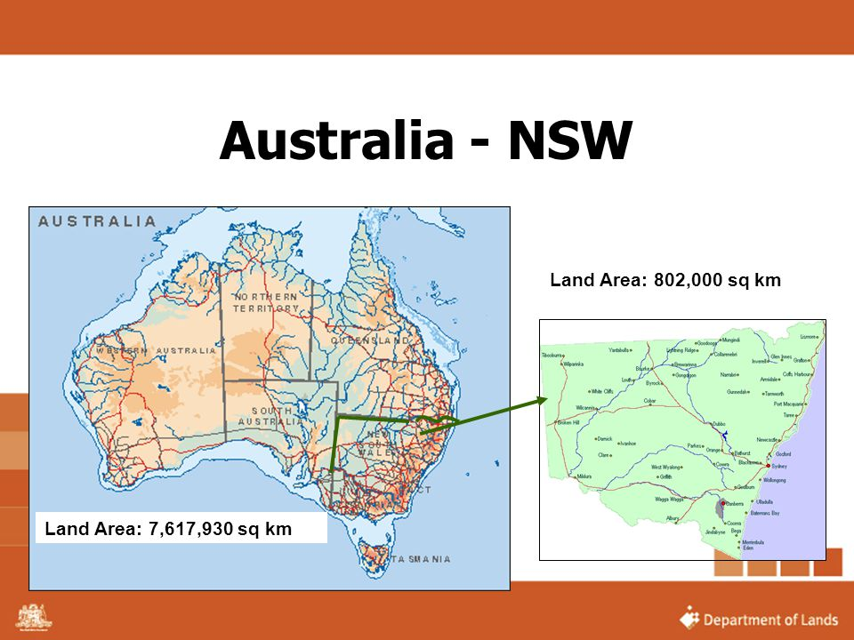 Australia - NSW Land Area: 802,000 sq km Land Area: 7,617,930 sq km