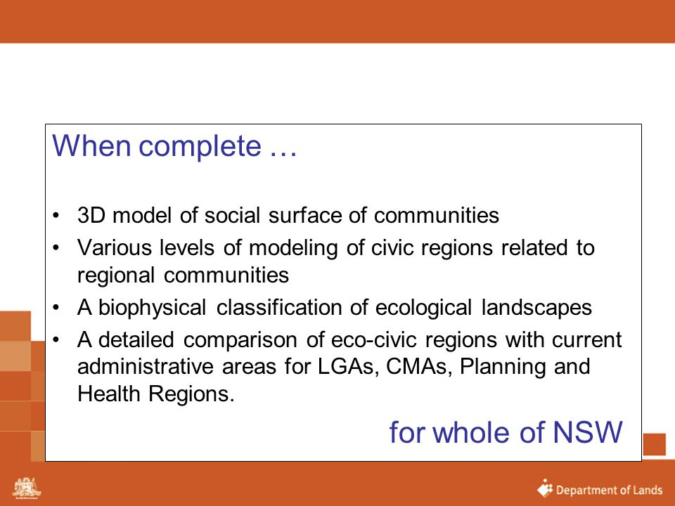 When complete … for whole of NSW