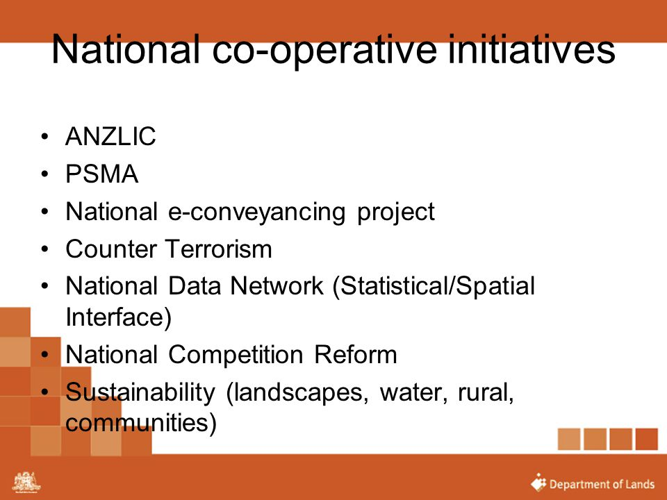 National co-operative initiatives