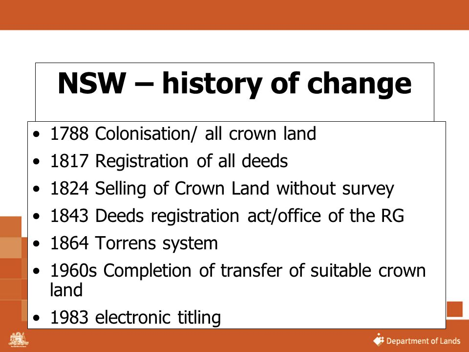 NSW – history of change 1788 Colonisation/ all crown land