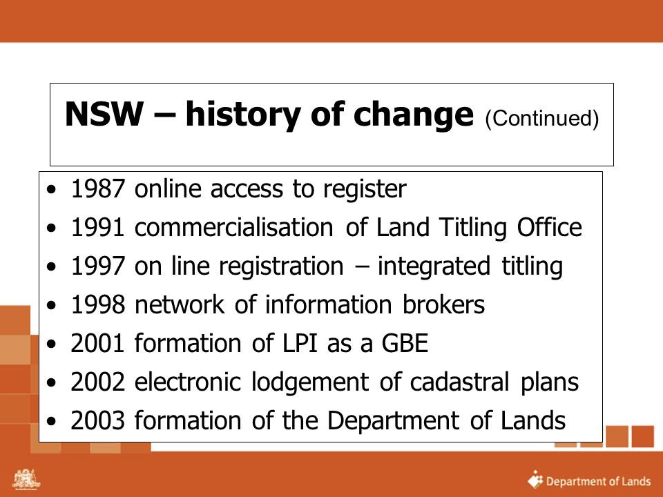 NSW – history of change (Continued)