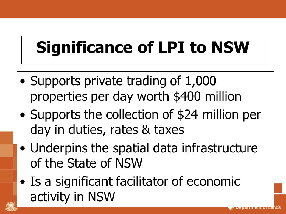 Significance of LPI to NSW