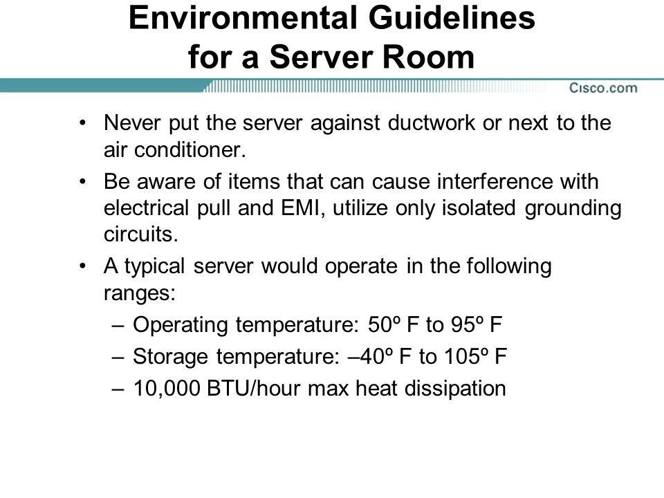 Environmental Guidelines for a Server Room
