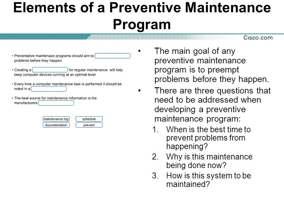 Elements of a Preventive Maintenance Program
