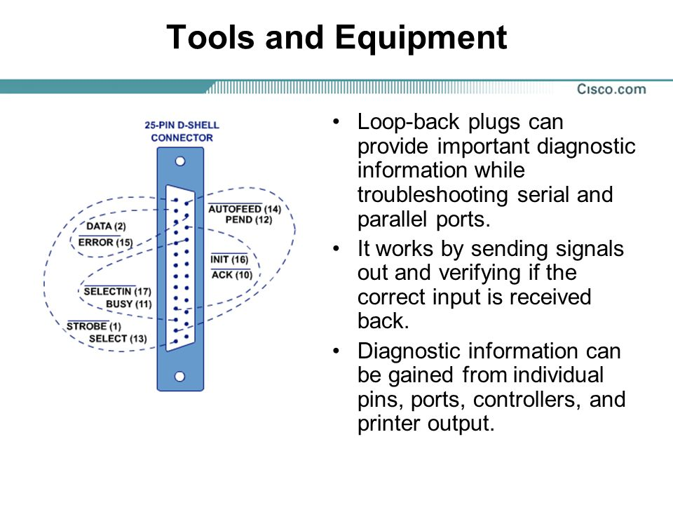 Tools and Equipment Loop-back plugs can provide important diagnostic information while troubleshooting serial and parallel ports.