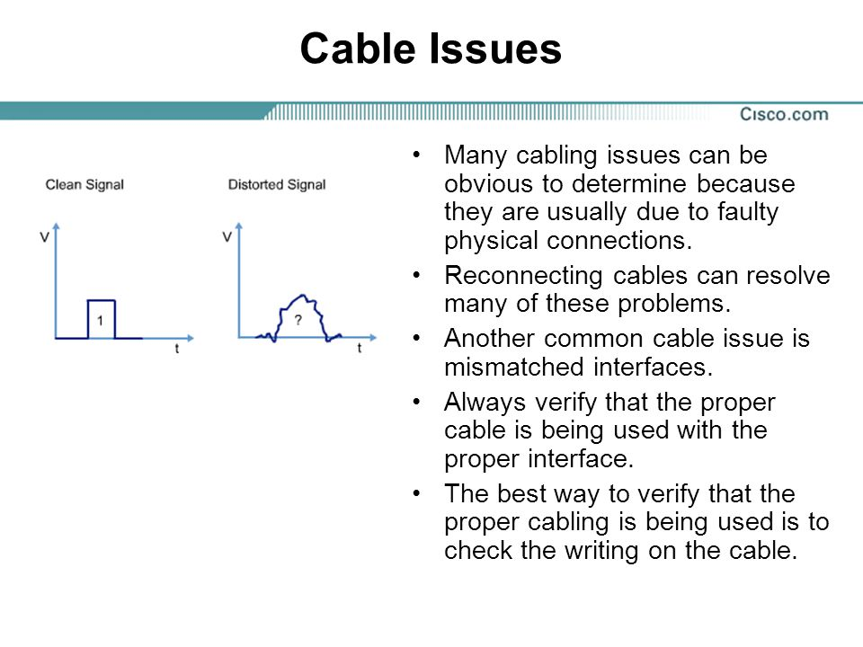 Cable Issues Many cabling issues can be obvious to determine because they are usually due to faulty physical connections.