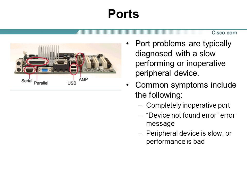 Ports Port problems are typically diagnosed with a slow performing or inoperative peripheral device.