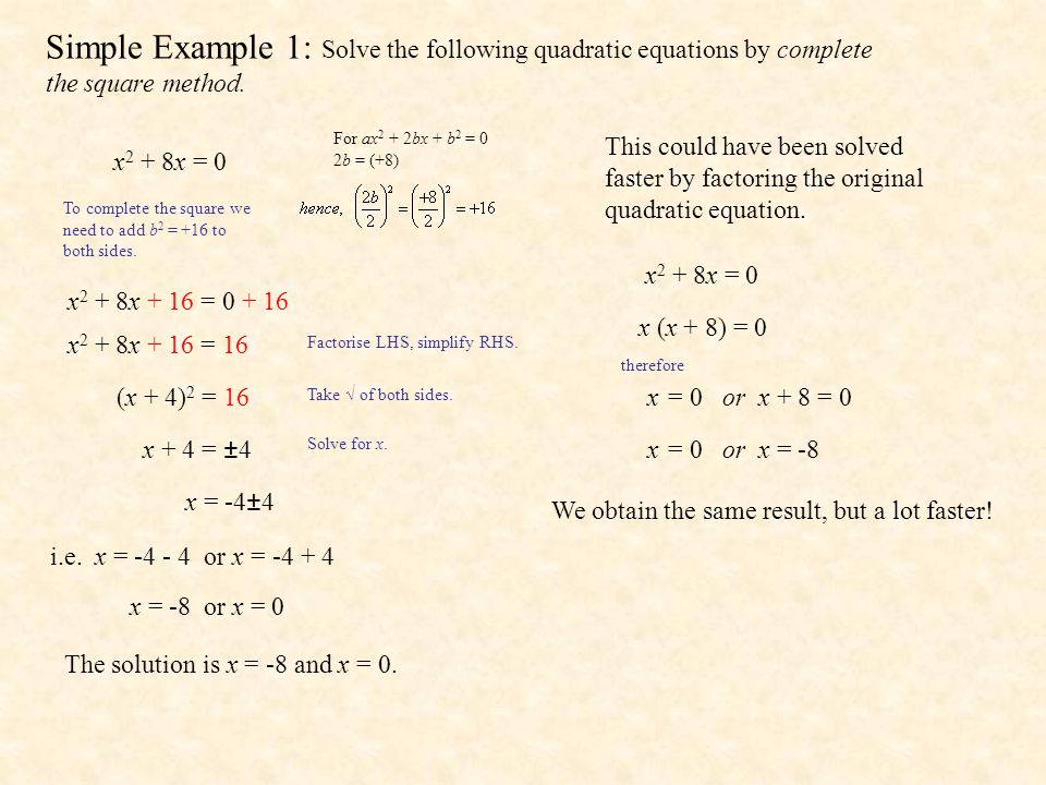 Simple Example 1: Solve the following quadratic equations by complete the square method.