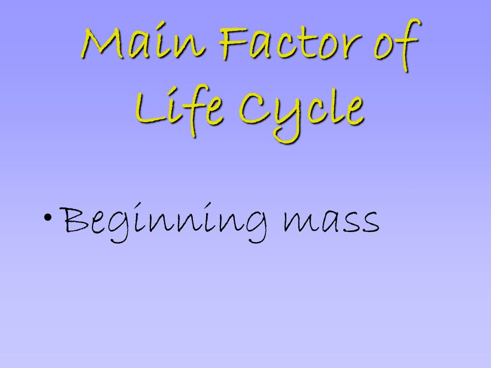 Main Factor of Life Cycle