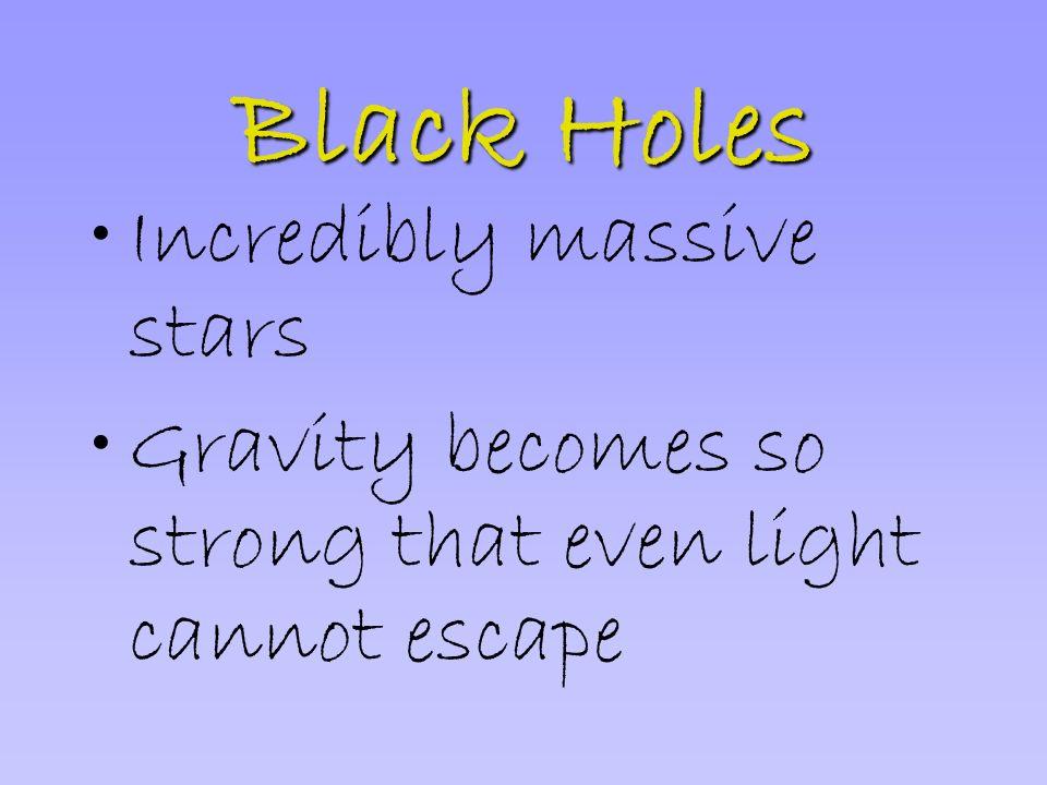 Black Holes Incredibly massive stars