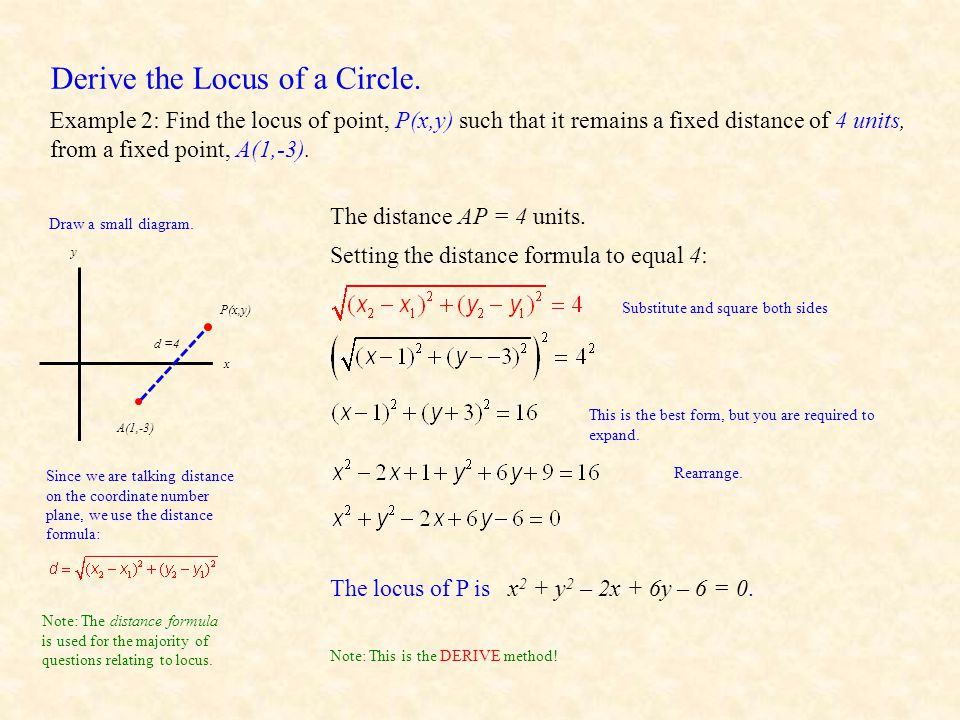 Derive the Locus of a Circle.