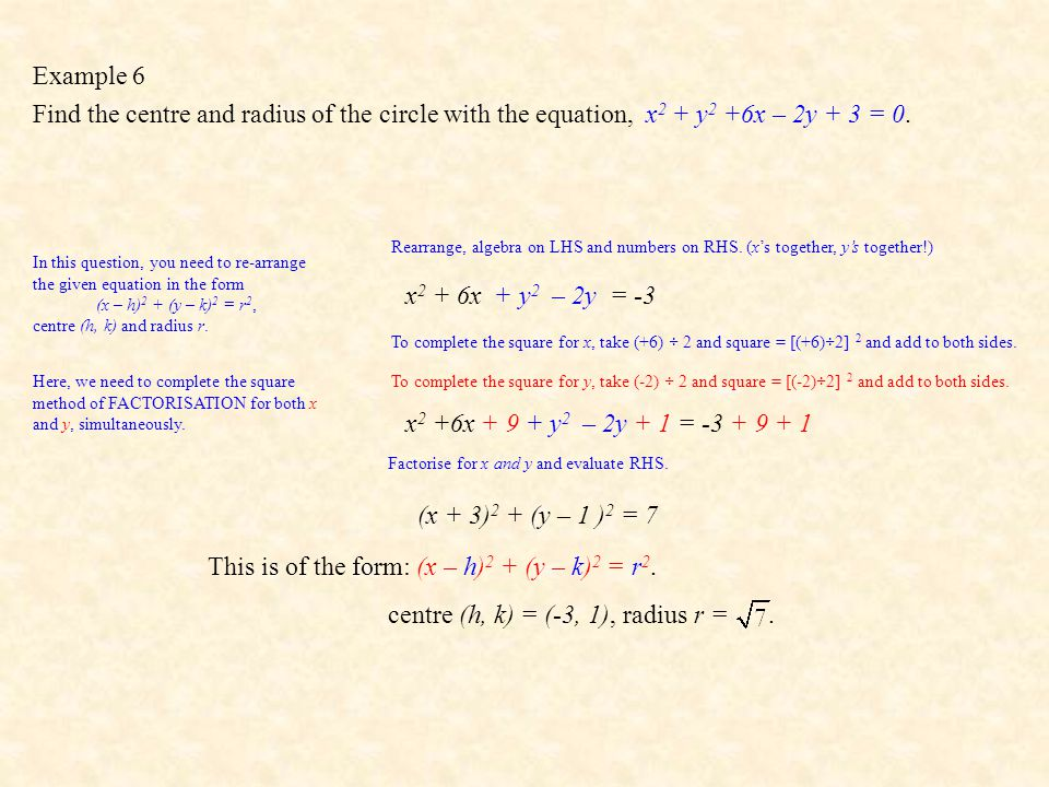 This is of the form: (x – h)2 + (y – k)2 = r2.