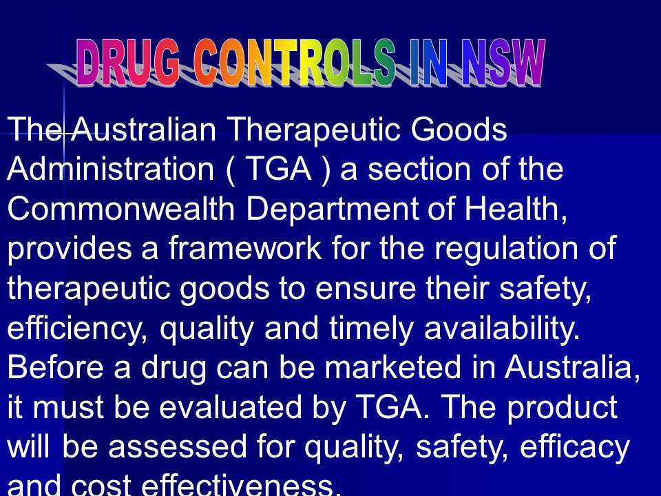 DRUG CONTROLS IN NSW