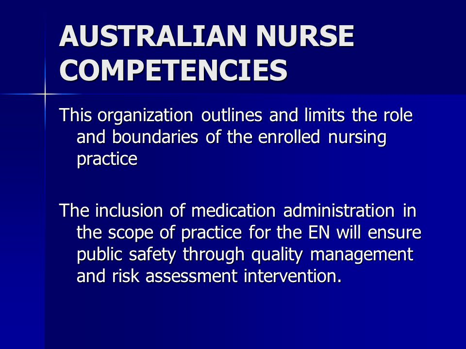 AUSTRALIAN NURSE COMPETENCIES