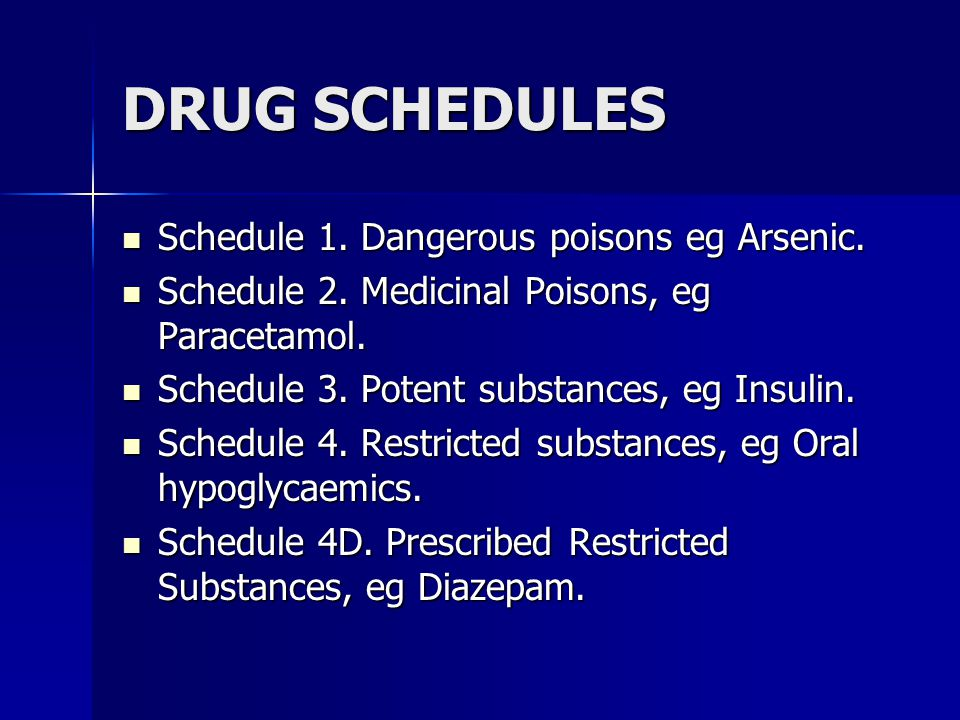 DRUG SCHEDULES Schedule 1. Dangerous poisons eg Arsenic.