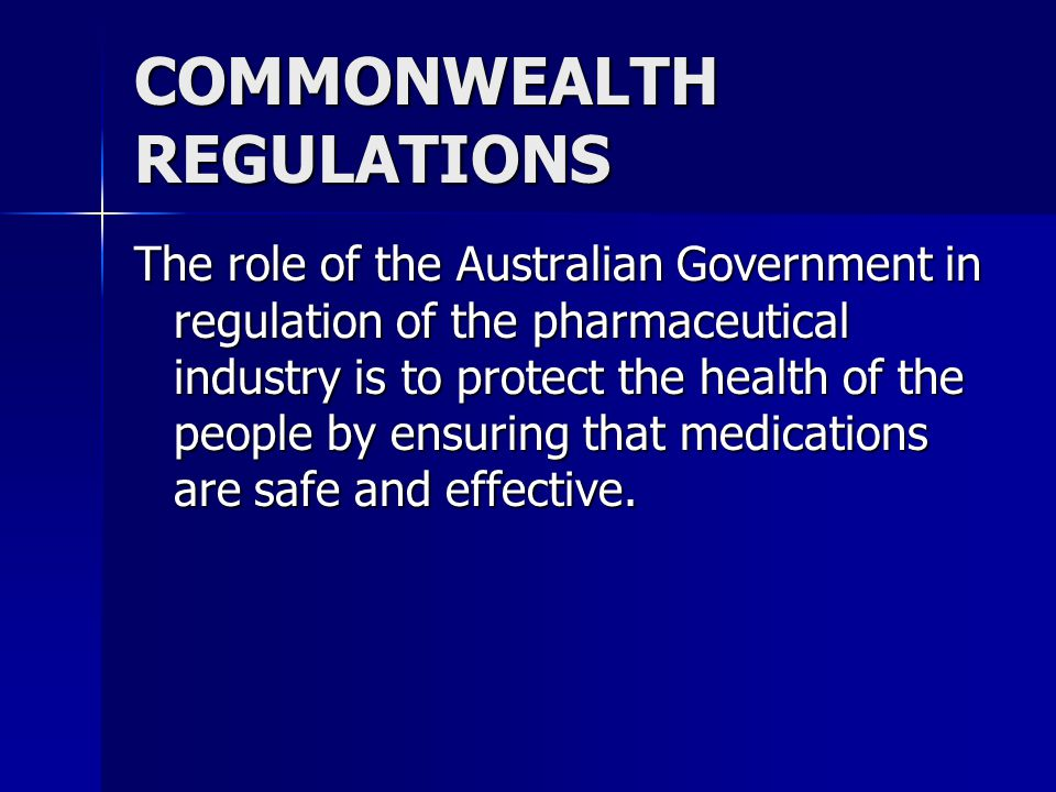 COMMONWEALTH REGULATIONS