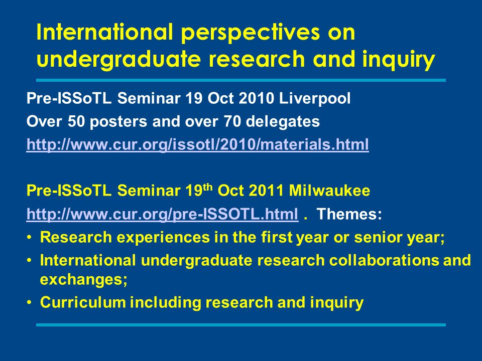 International perspectives on undergraduate research and inquiry