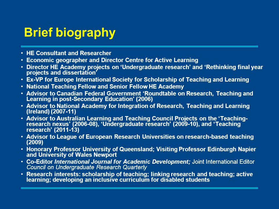 Brief biography HE Consultant and Researcher