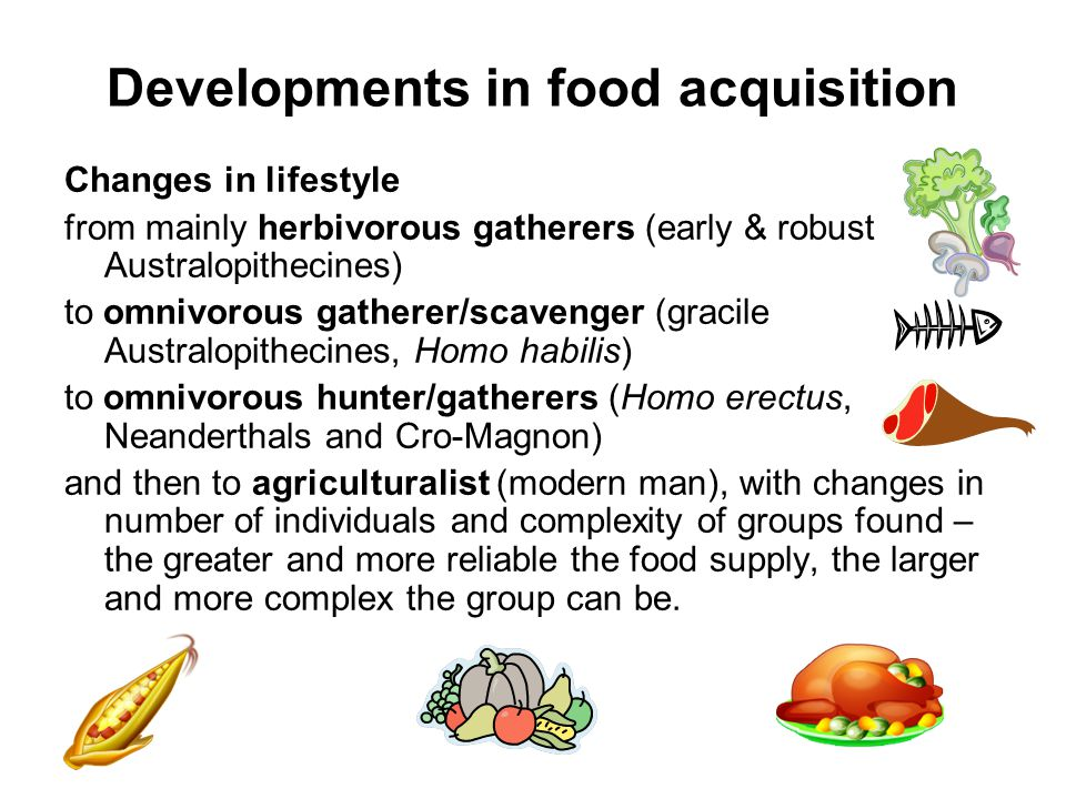 Developments in food acquisition