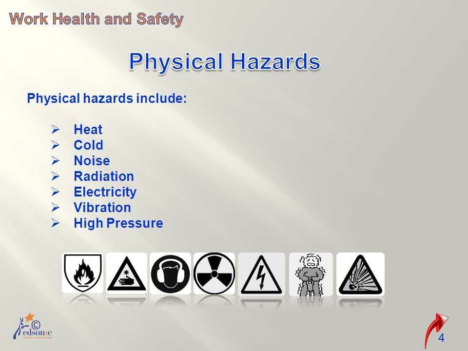Physical Hazards Work Health and Safety Physical hazards include: Heat