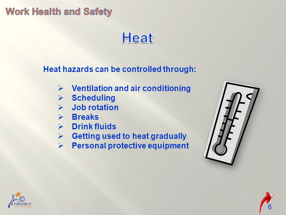 Heat Work Health and Safety Heat hazards can be controlled through: