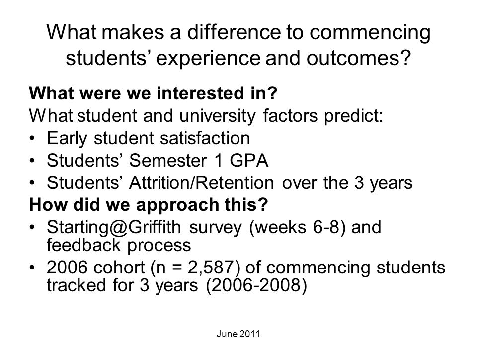 What makes a difference to commencing students' experience and outcomes