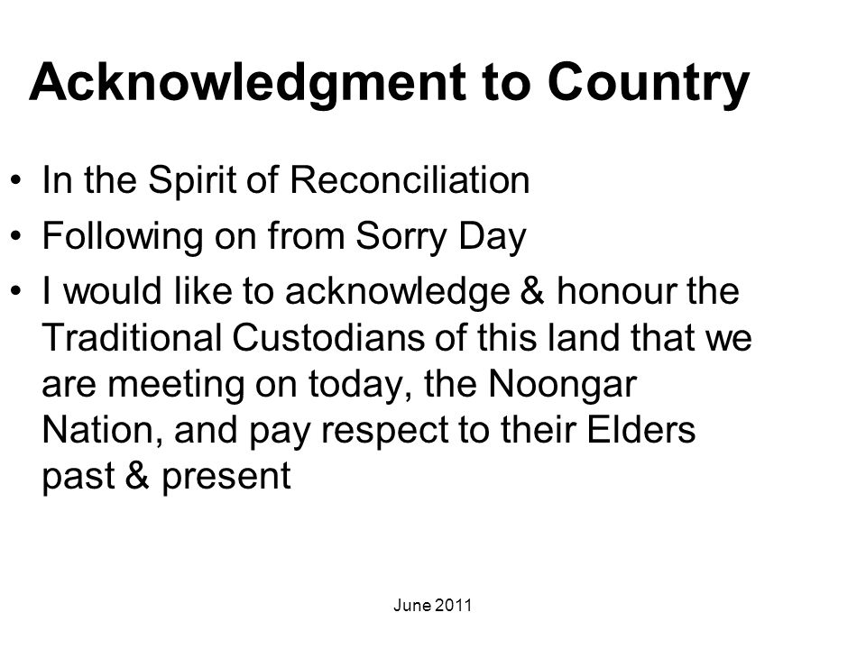 Acknowledgment to Country