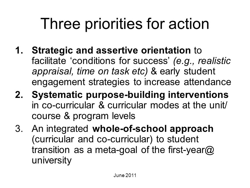 Three priorities for action