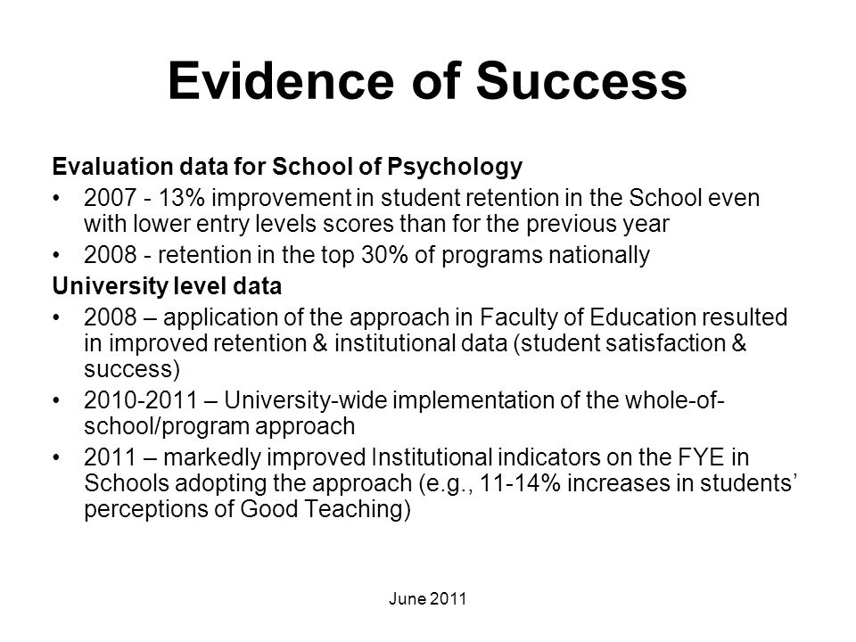 Evidence of Success Evaluation data for School of Psychology