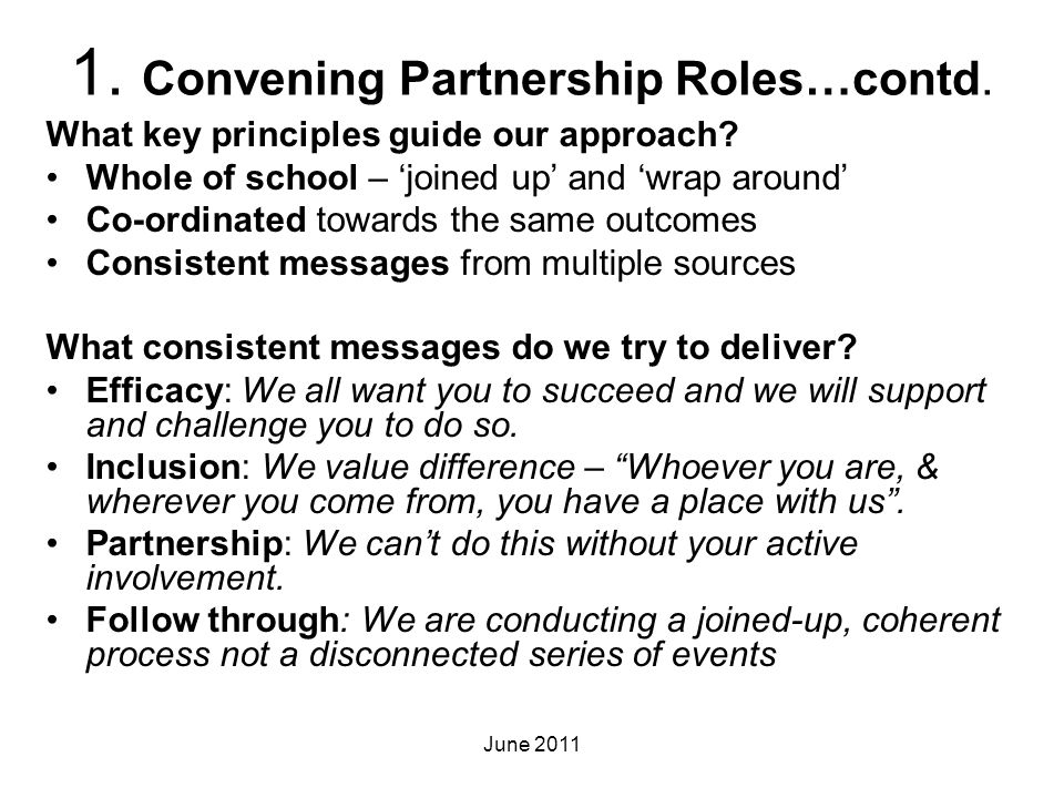 1. Convening Partnership Roles…contd.