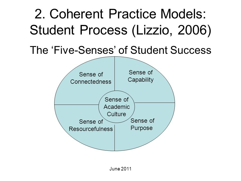 2. Coherent Practice Models: Student Process (Lizzio, 2006)