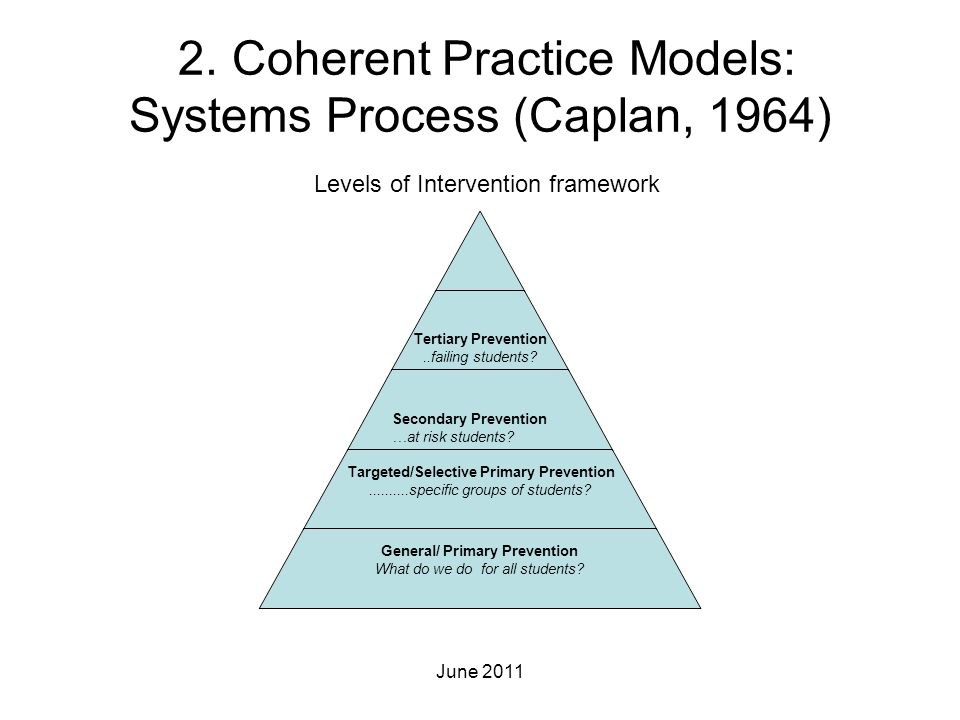 2. Coherent Practice Models: Systems Process (Caplan, 1964)
