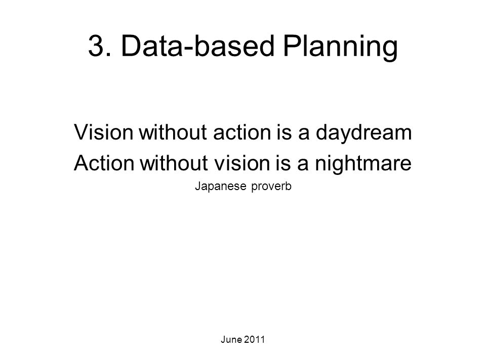 3. Data-based Planning Vision without action is a daydream