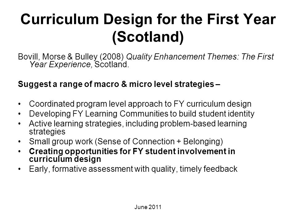 Curriculum Design for the First Year (Scotland)