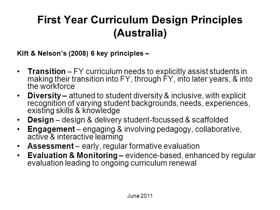 First Year Curriculum Design Principles (Australia)