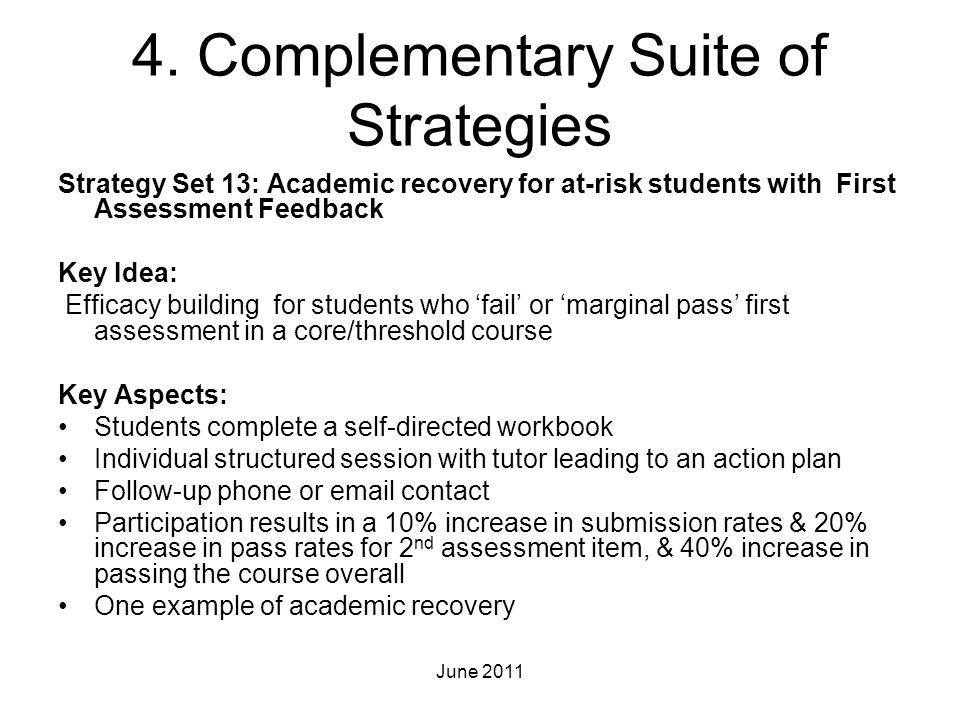 4. Complementary Suite of Strategies