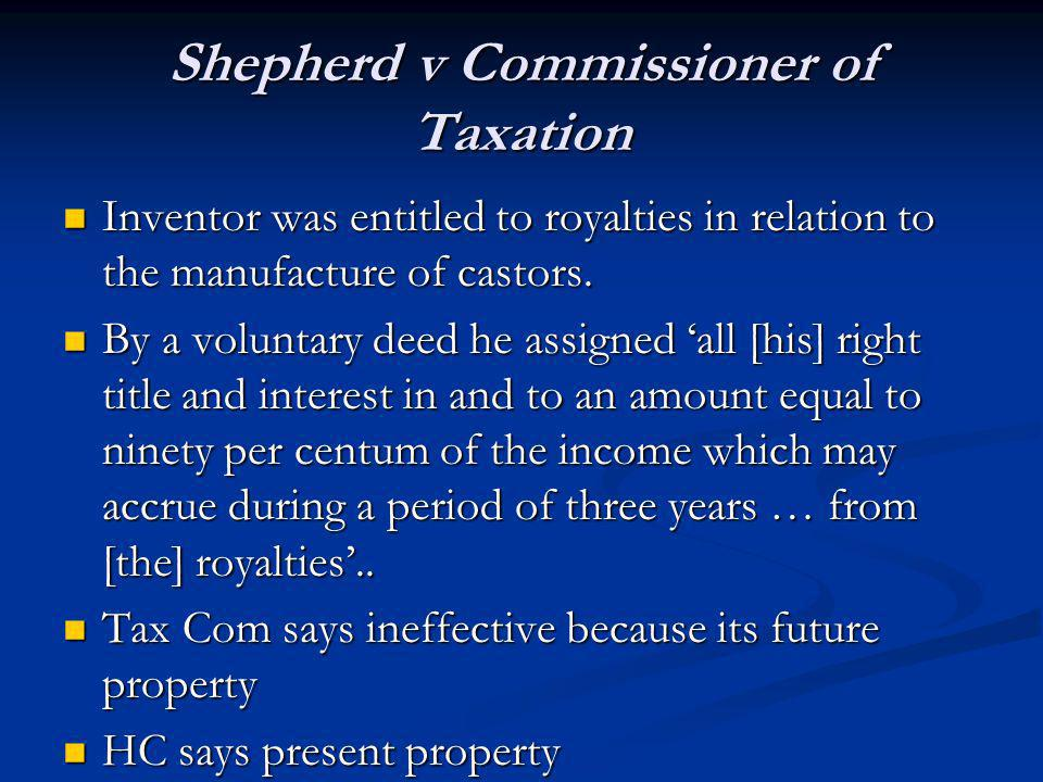 Shepherd v Commissioner of Taxation