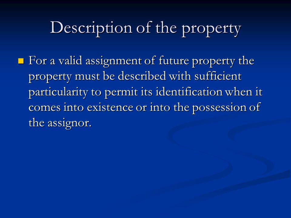 Description of the property