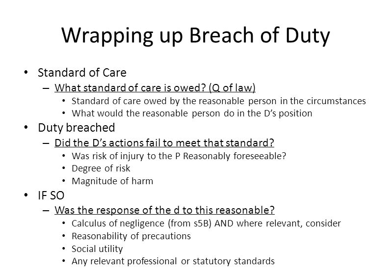 Wrapping up Breach of Duty