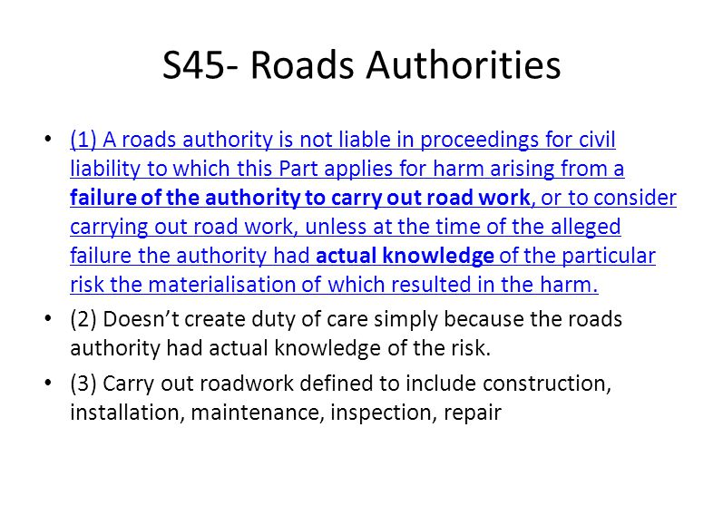 S45- Roads Authorities