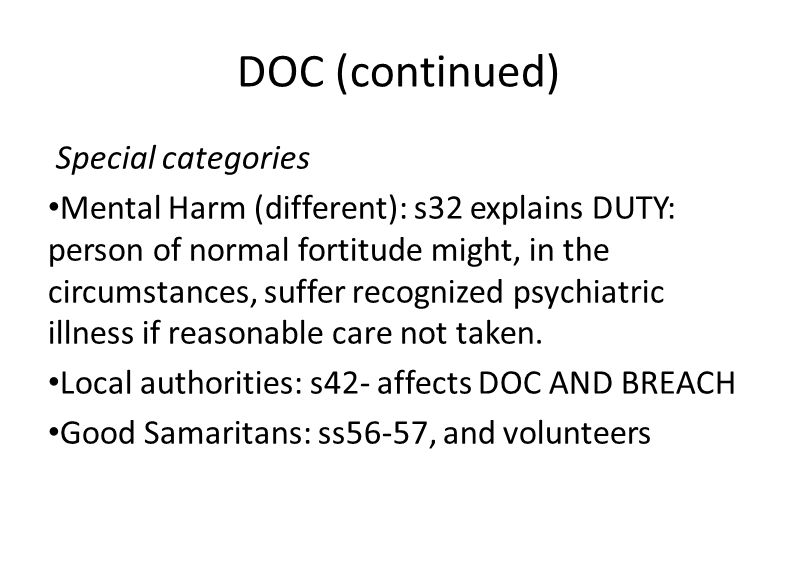 DOC (continued) Special categories